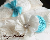 ON SALE/SET) Tiffany Blue Silk Wedding Garter Set