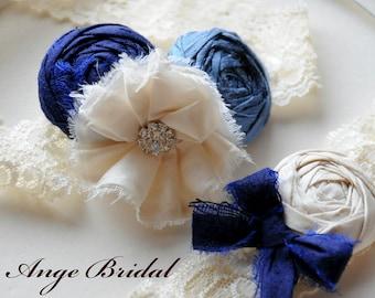 SILK wedding garter / Something Blue / bridal garter/  Something BLue wedding garter / vintage inspired lace garter
