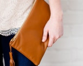 Leather Tassel Pouch/Clutch in Chestnut