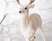 Vintage Flocked White Gold Christmas Deer Glitter Antlers