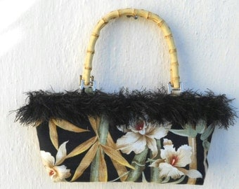 Hawiian Orchard print Barkcloth with Bamboo handles purse
