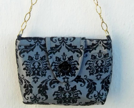 Black and Grey flocked Tafetta fabric Elegant small purse with Gold chain handle