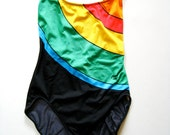 Vintage One Piece Rainbow Color Bathing Suit - Size Small