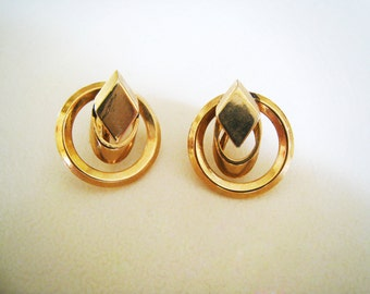 Vintage Gold Tone Art Deco Style Earrings