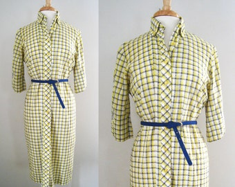 Vintage 1950s - 60s Shirt Dress / Day Dress with Check Pattern - Size Medium / Large