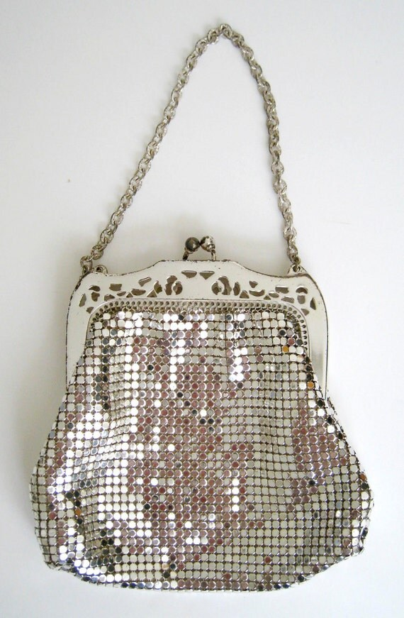 On Sale - 1940s Silver Mesh Metal Purse by Whiting & Davis Co. with Original Box and Bracelet