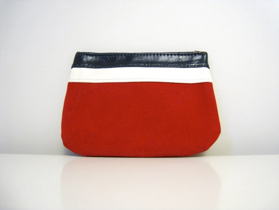 Vintage Small Purse / Makeup Bag / Pouch - Red White and Blue- Black Friday Cyber Monday Sale - Get 25% off with coupon code