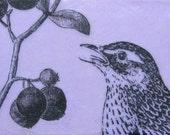 """Original Encaustic Painting """"Berries & Bird"""""""