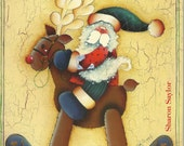 Decorative Painting Pattern Kitty Cats, Reindeer,  Santa Claus Christmas