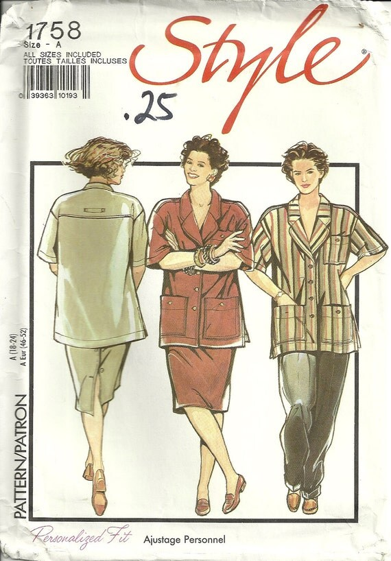 Shirt, Trousers, Skirt Pattern Style 1758 Women's Sizes 18 20 22 24