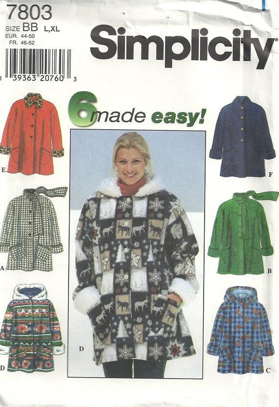 Misses' Coat Pattern Simplicity 7803  Sizes Large, Extra Large 18 20 22 24 Easy