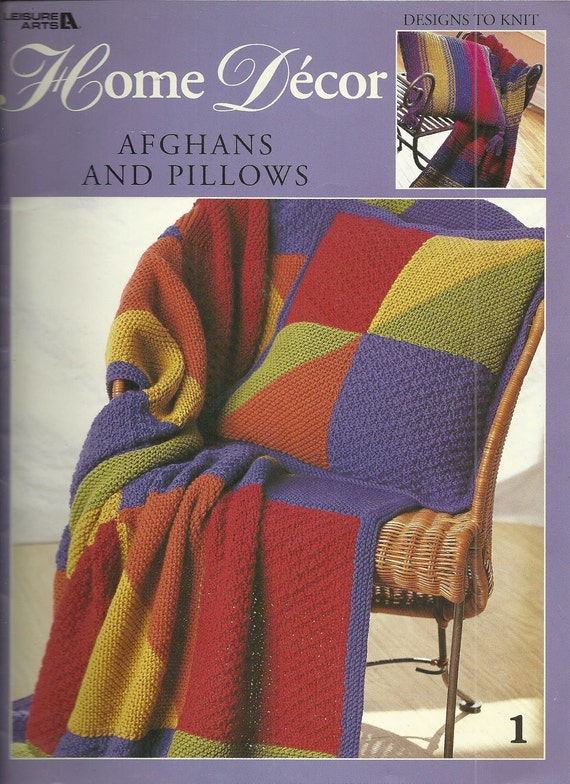 Colorful Afghans and Pillows to Knit Pattern Book Stripes and Blocks