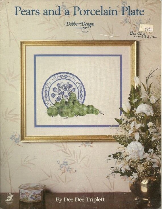 Pears and a Porcelain Plate Cross Stitch Charts, Design, Pattern
