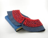 Hand Crochet Lace Collar With Denim Fabric / Cotton Collar / Detachable / Red, Blue / Women Fashion /  30% Off / Ready To Ship