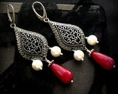 Red jadeite with sheashell pearls elegant vapire earrings with silver sterling earwires