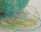 50 yard Blue and Yellow curly mohair bouclé yarn