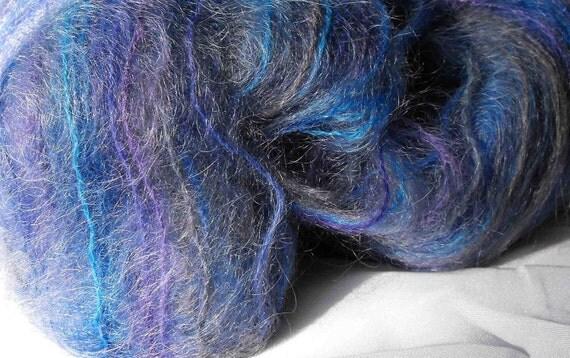 Brushed Mohair Yarn  - Blue 100 yd