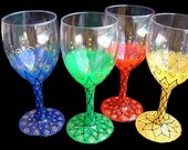 Hand Painted Wine Glasses- Item: WG-Primary-000