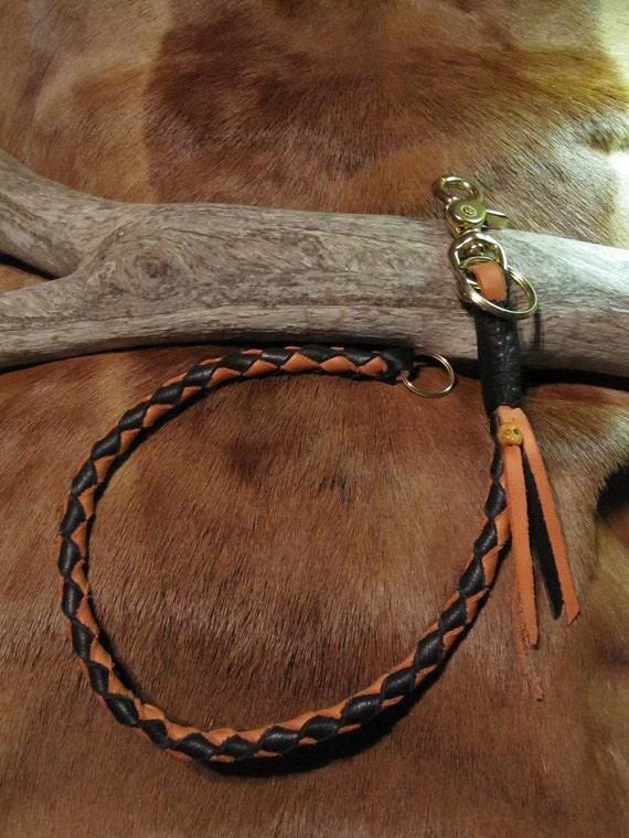 Round Braided Leather Biker Wallet/Key Chain Orange and Black  WC100