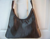 "FREE SHIPPING...Handmade Large Hobo Style Shiny Silver Gray 18"" x 15"" x 2"" Purse/Handbag/Tote"