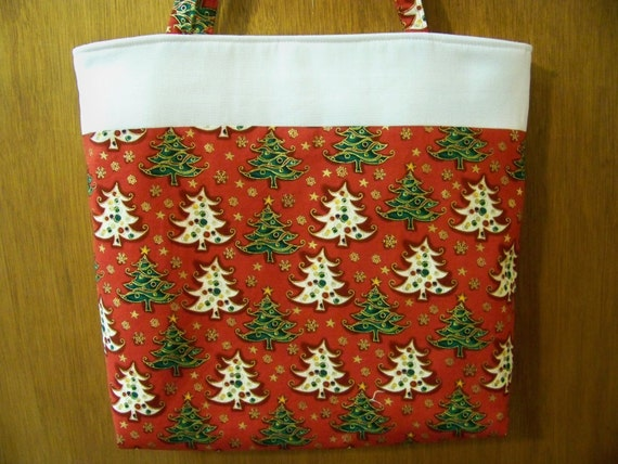 """FREE SHIPPING...White and Green Christmas Trees with Metallic Outline on Red Backgound 14""""x14""""x3"""" Handmade Tote/Handbag"""