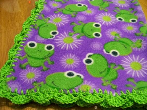 "FREE SHIPPING...Baby Frogs on Purple Fleece with Green Crochet Edges 32"" x 38"" Handmade Baby Blanket"