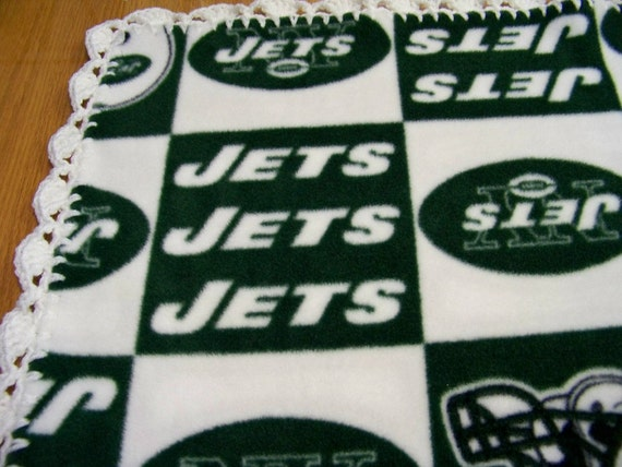 """FREE SHIPPING...NFL New York Jets Fleece with Crochet Edges in Shell Pattern 31"""" x 37"""" Handmade Baby Blanket"""