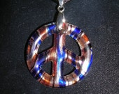 Peace Sign Glass Multi colored Pendant