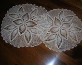 Antique Doilies Hand Crochet Set of 2 Vintage 1950's Ecru flower design  14 inches  and 17 inches