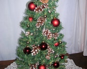 SALE   Table top Christmas Tree Red n Gold Decor nesting cardinals at top 23 inches