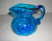 Blue Glass Pitcher Small Pitcher   or  Vase   Colbalt  Blue  Iridescent