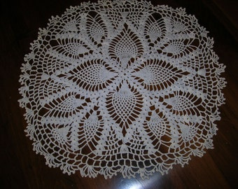 """Antique Hand Crotched  tatted Doily    17"""" in diameter   Ivory"""