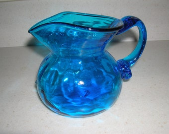 Blue Glass Pitcher Small Pitcher   or  Vase   Colbalt  Blue  Iridescent