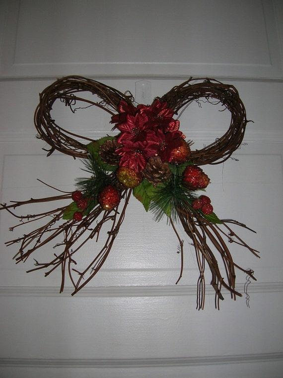 SALE   Holiday  Christmas Winter Vine Wreath     Bow Wreath SALE