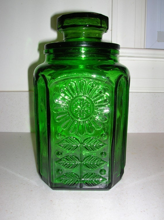 Green Glass Canister with Sunflower Design Wheaton Glass