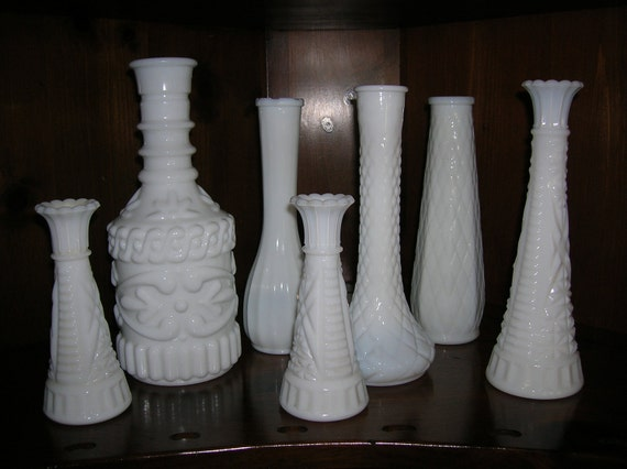 Milk Glass Vases  Set of 7 vases  various sizes