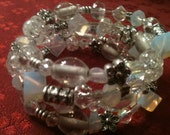 Beaded Coil Bracelet- Clear with Moonstone