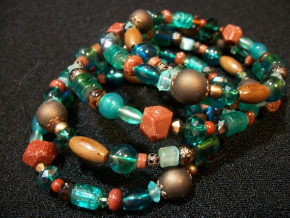 Free Shipping -Beaded Coil Bracelet- Fun Turquoise and Goldstone