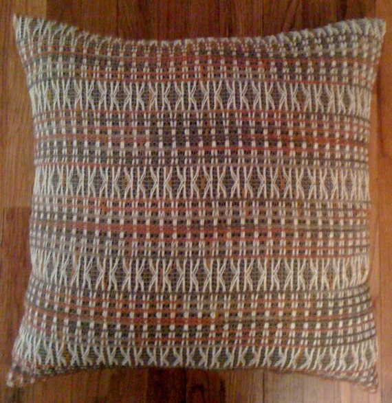 Retro decorative pillow, throw pillow woven in orange green and white