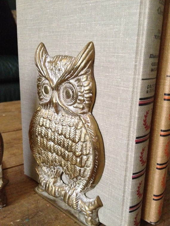 Vintage Owl Brass Bookends