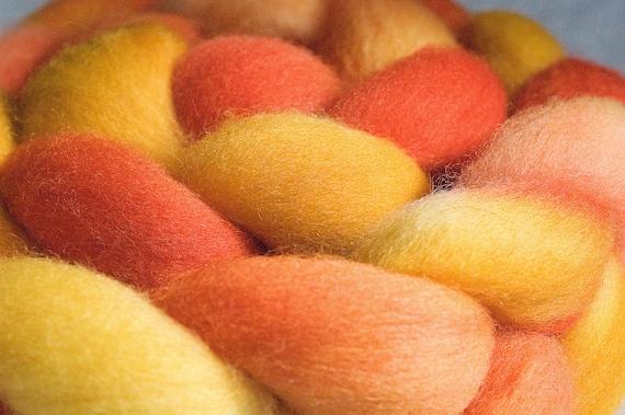Hand dyed Falkland wool top,  4oz in Thirsty Orange