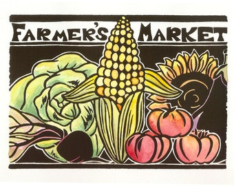 Farmer's Market original block print, open edition, 5x7, hand-colored in watercolors