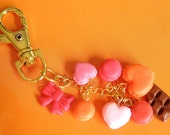 Orange macaroon and chocolate bag/purse charm or key chain in pink tones