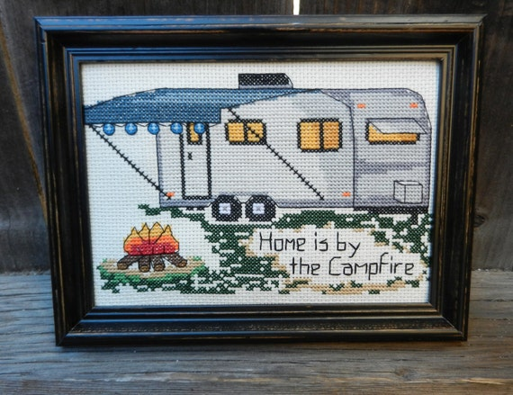"""PATTERN - Camping Counted Cross Stitch- """"Home is by the Campfire"""""""