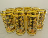 Georges Briard Cocktail Glasses Tumblers Barware Lemon Tree Design Set of 8