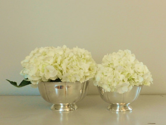 Vintage Silver Plated Bowl Vase Set with Scalloped Edge by Towle
