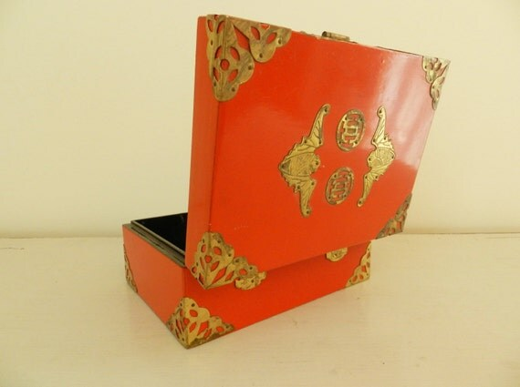 Vintage Japanese Lacquerware Box with Brass Trim