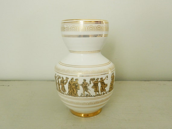 Vintage White Vase Hand Painted Greece 24k Gold Grecian