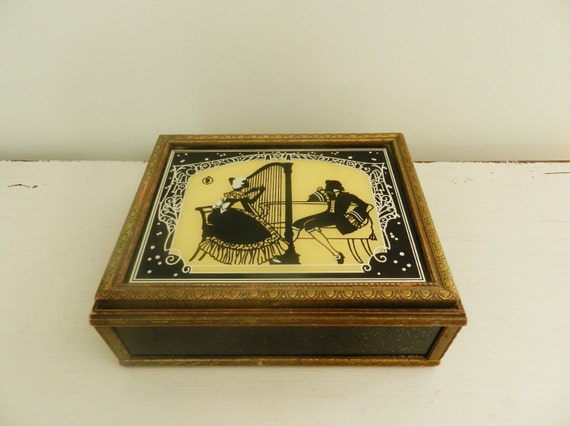 Antique Jewelry Box Silhouette Reverse Painted 1940s Mirrored Lid