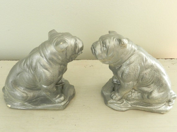 Vintage Bulldog Bookends Dog Statue Figurine Silver Grey